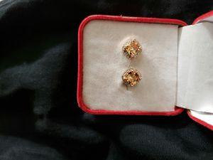 Junxin junnix elegant 18 K golden Princess cut champagne Topaz diamond CZ Stud earrings square ear Stud wedding jewelry for women for Sale in CA, US