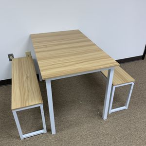 Modern Dining Table Set with 2 Benches, 3-Piece set, White. for Sale in Duluth, GA
