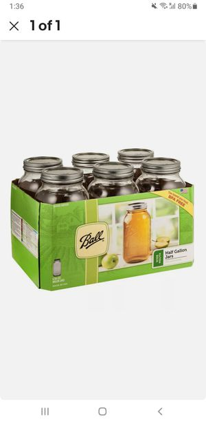 Ball Wide Mouth Canning Mason Jars, Half Gallon Clear Glass Jar, 64oz, Pack Of 6 for Sale in New York, NY