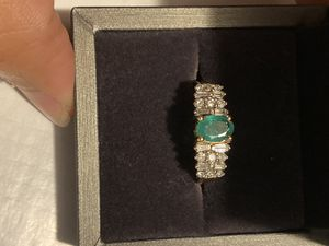 14k gold diamonds and emerald ring size 8 for Sale in Weymouth, MA