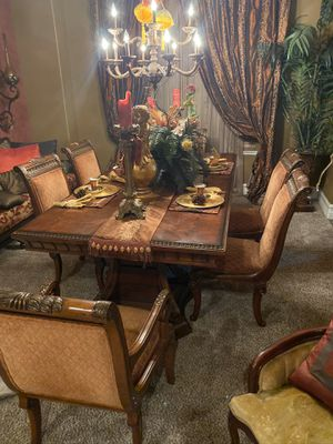 Formal custom Dining room table featuring gold leaf touches and Intricate engraved edges of chairs and table. Features custom upholstery. Elegant and for Sale in Etiwanda, CA