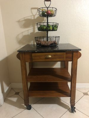 Rolling island kitchen table with marble for Sale in Clodine, TX