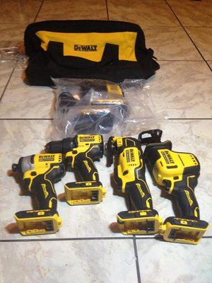 New DEWALT ATOMIC 20-Volt Lithium-Ion Combo Kit (4-Tool) with Two 2.0 Ah Batteries and Charger $380 part number DCS354, DCS369, DCF809, DCD708, for Sale in Lauderdale Lakes, FL