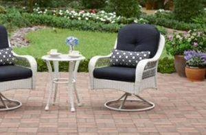 New!! 3 pc swivel bistro patio set, outdoor conversation set, chat set, patio furniture , blue and white for Sale in Phoenix, AZ