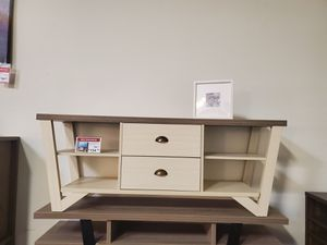 Grace TV Stand up 70in TV Stands, Ivory & Dark Taupe for Sale in Westminster, CA
