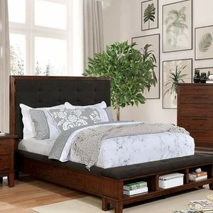 BROWN CHERRY / DARK BROWN QUEEN SIZE BED FOOTBOARD STORAGE-SHELVING for Sale in Porter Ranch, CA