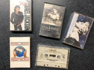 Michael Jackson and Madonna cassettes - titles are pictured for Sale in Griswold, CT