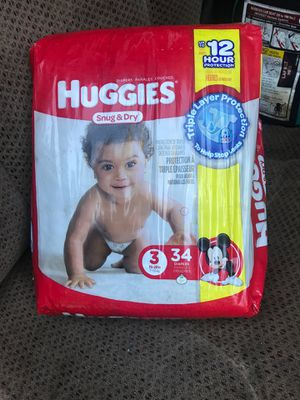 Un opened size 3. 34 count diapers for Sale in Fresno, CA