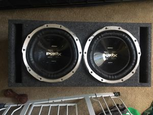 Two 12inch sub woofers 1300 watt with slot ported box and 1000 watt amp for Sale in Las Vegas, NV