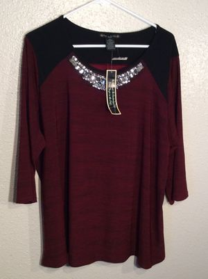 Brand New Beaded Maroon Wine Silver Women's SUZIE IN THE CITY Long Sleeve Dress Tunic Top with Beads in package - size 3XL-2XL for Sale in Austin, TX