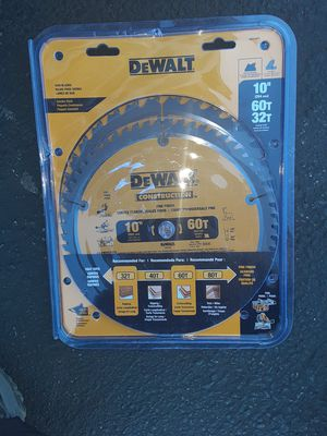 "Set of dewalt 10"" table saw miter blades for Sale in Hemet, CA"