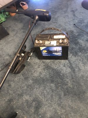 Minn Kota 55lb thrust Trolling Motor and Battery for Sale in North Grafton, MA