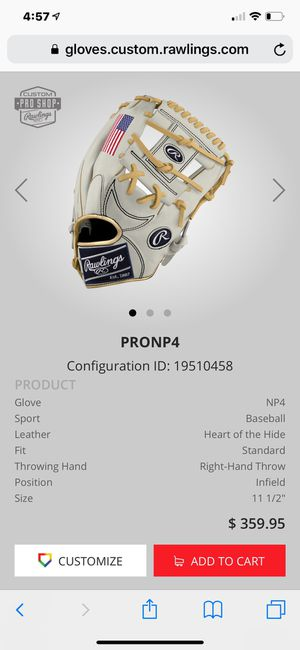 "White Used Infield Heart of the Hide 11.5"" Baseball Glove for Sale in Broomfield, CO"