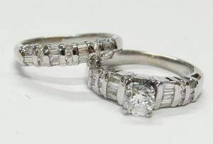 0.50ct Center Diamond 18k White Gold Rings 1.36ctw Engagement Wedding Set for Sale in West Los Angeles, CA