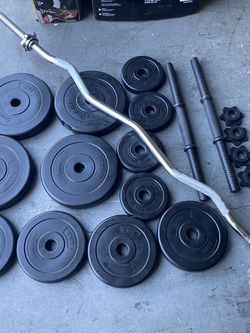 Dumbbells weights curl bar for Sale in Tustin,  CA