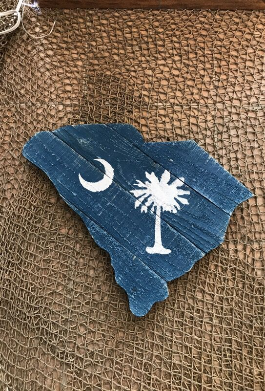 Rustic Blue Wooden South Carolina With Palmetto Tree Wall