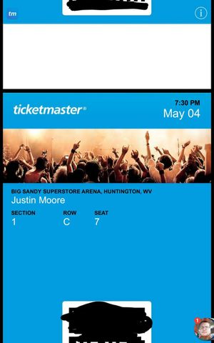 Justin Moore tickets for tonight 730 big sandy superstore arena for Sale in Elkview, WV