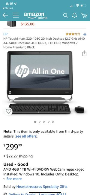 HP TouchSmart 20in LCD Desktop 2.7GHz 4GB 500GB for Sale in Lexington, KY