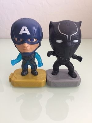 Black Panther #19 and Captain America team suit #15 McDonald's happy meal toys Marvel Disney for Sale in Avondale, AZ