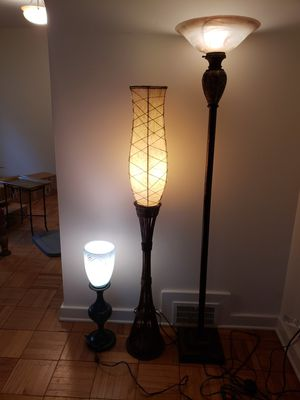 Teo floor lamps and one table lamp for Sale in Pittsburgh, PA