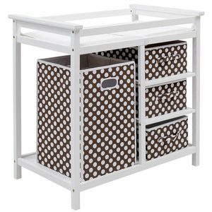 Infant Changing Table With 3 Basket Hamper Diaper Storage-Brown for Sale in Hacienda Heights, CA