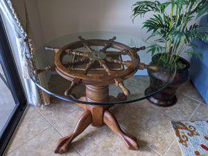 Ship wheel glass top table for Sale in Punta Gorda, FL