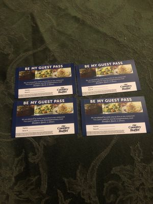 Old country buffet meal passes includes all 4 for Sale in Enola, PA