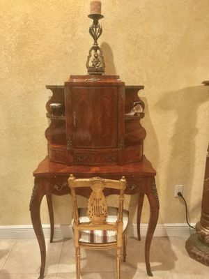 Rare LOUIS XV style secretary desk with gold leaf chair for Sale in Hollywood, FL