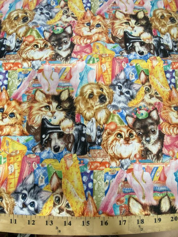Sewing crafting quilting dogs & cats cotton fabric 1 yard