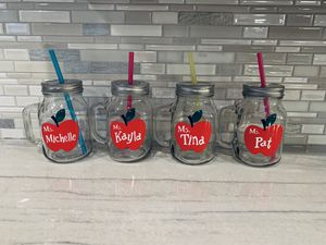 Teacher Mason Jar/ cups with plastic straw for Sale in Los Nietos, CA