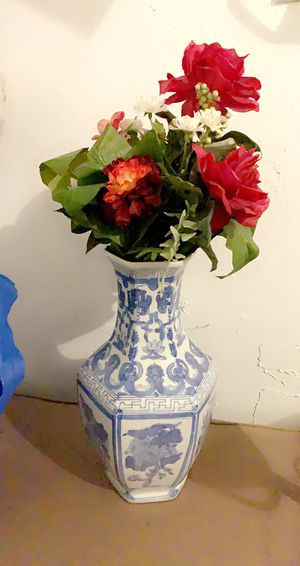 White and blue vase with fake flower for Sale in Hillsboro, OR