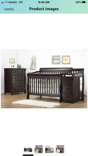Complete nursery Sorelle Tuscany 4 in 1 crib / toddler bed / with diaper changer nightstand chest of drawers dual mattress for Sale in Fort Lauderdale, FL