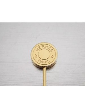 "Lovely Authentic Hermès Round Pin Brooch Sellier Gold tone. Size 0.8"". for Sale in Rockville, MD"