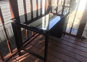 Black glass desk w/ 2 drawers for Sale in Ann Arbor, MI