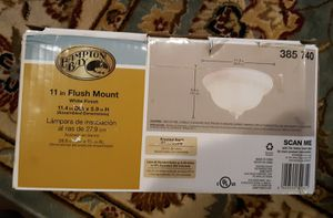 NEW HAMPTON BAY 11 in. 2-Light White Flush Mount with Frosted Swirl Glass Shade for Sale in Accokeek, MD