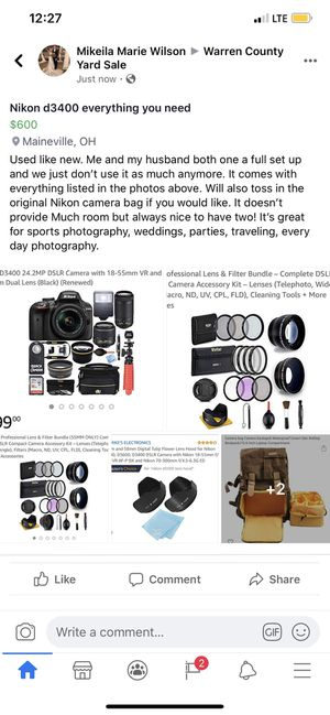 Nikon d3400 for Sale in Maineville, OH
