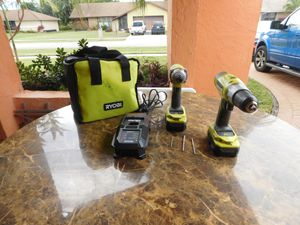 Ryobi Impact Driver & Speed Drill + Lithium Ion Dual charger & 2 Batteries 18v & Case& Bits for Sale in Delray Beach, FL