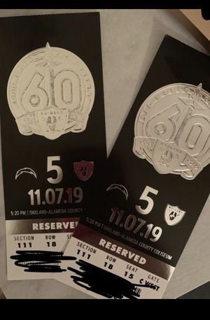 Raiders vs Chargers Thursday night game for Sale in Fresno, CA
