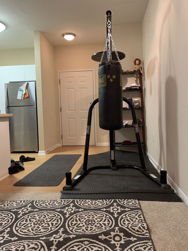 punch bag and stand with speed bag