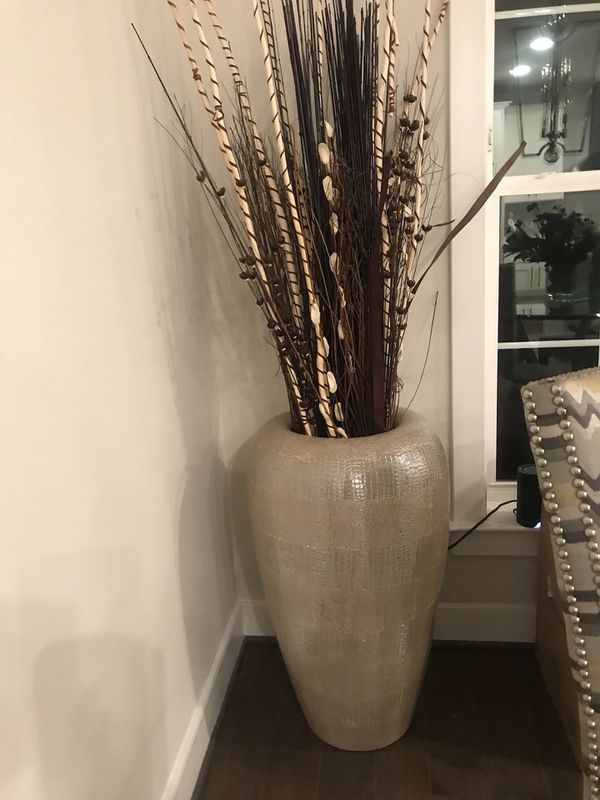 Extra large decorative planter with dried sticks