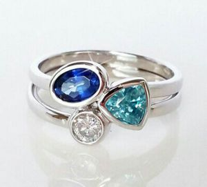 925 Silver Wedding Rings Women Aquamarine & Sapphire Ring Size 6-10 for Sale in Wichita, KS