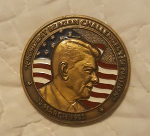 President Reagan Challenges The Nation, 23 March, 1983 Coin/Pin/ Medal.. is like 2 inch wide and a little be heavy! for Sale in Accokeek, MD