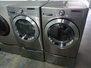 LG washer steam dryer steam electric nice set for Sale in Houston, TX
