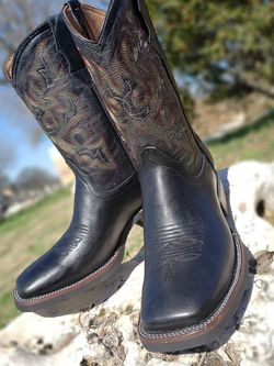 Men's Square Toe Boots | Black - Work Sole - 100% Leather! ROMÁN BOOTS!! Delivery Service Included!!! for Sale in San Antonio,  TX