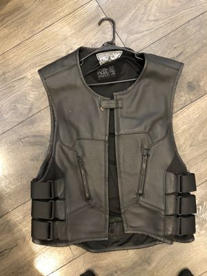 Icon leather motorcycle vest with back protector for Sale in Woodbridge, VA