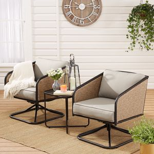 50% OFF Modern 3-Piece Patio Wicker Chat Set with Gray Cushions (Purchase via PayPal Invoice with Free Shipping) for Sale in Philadelphia, PA