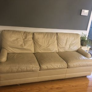 Leather Couch & Love Seat (cream) for Sale in Falls Church, VA
