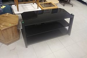 Beautiful large black glass tv stand for Sale in US
