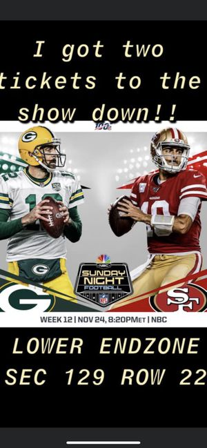 49er vs Packers for Sale in San Jose, CA