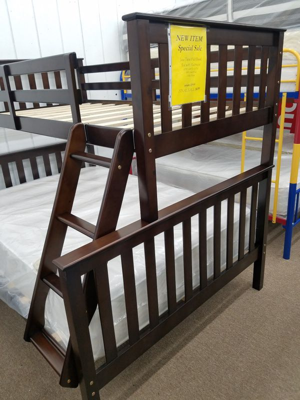 New in box no money down no credit needed twin full wooden bunk bed only